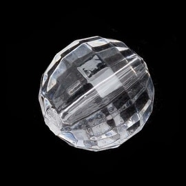 Acrylic Round Chessboard Faceted Beads Clear 14mm (12 Pieces)