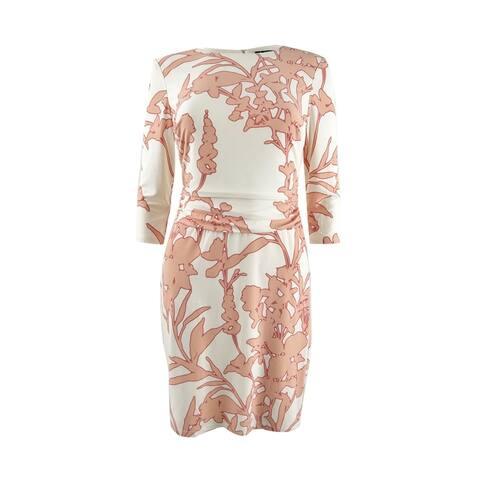 Lauren by Ralph Lauren Women's Floral-Print Jersey Dress (4P, Cream/Blossom) - Cream/Blossom - 4P