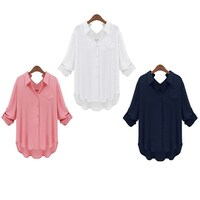 Round Neck 3/4 Sleeve Shirts