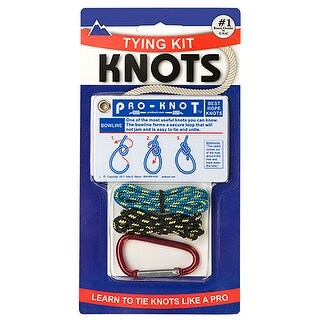 Pro-Knot Survival Rope Knot Tying Kit with Waterproof Cards, Rope, and Carabiner - One size