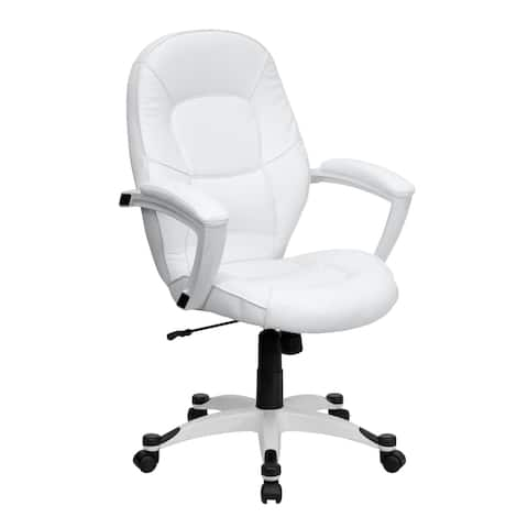 Mid-Back White LeatherSoft Tapered Back Executive Swivel Office Chair with Arms