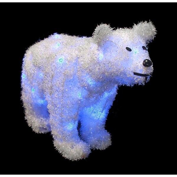 "24"" Battery Operated LED Lighted Tinsel Polar Bear Christmas Decoration"