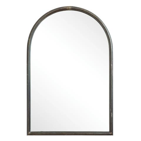 Arched Mirror with Metal Trim - Black
