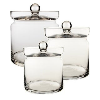 """CYS Glass Apothecary Jar/Vase Set of 3, H-8.5"""", 6"""", 4.75"""" - Candy Buffet Containers set of 3"""