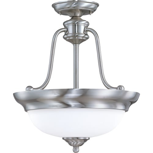 """Nuvo Lighting 60/1807 Glenwood 3 Light 15"""" Wide Semi-Flush Ceiling Fixture with Satin White Glass Shade"""
