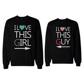 His and Her I Love This Guy and Girl Matching Sweatshirts for Couples