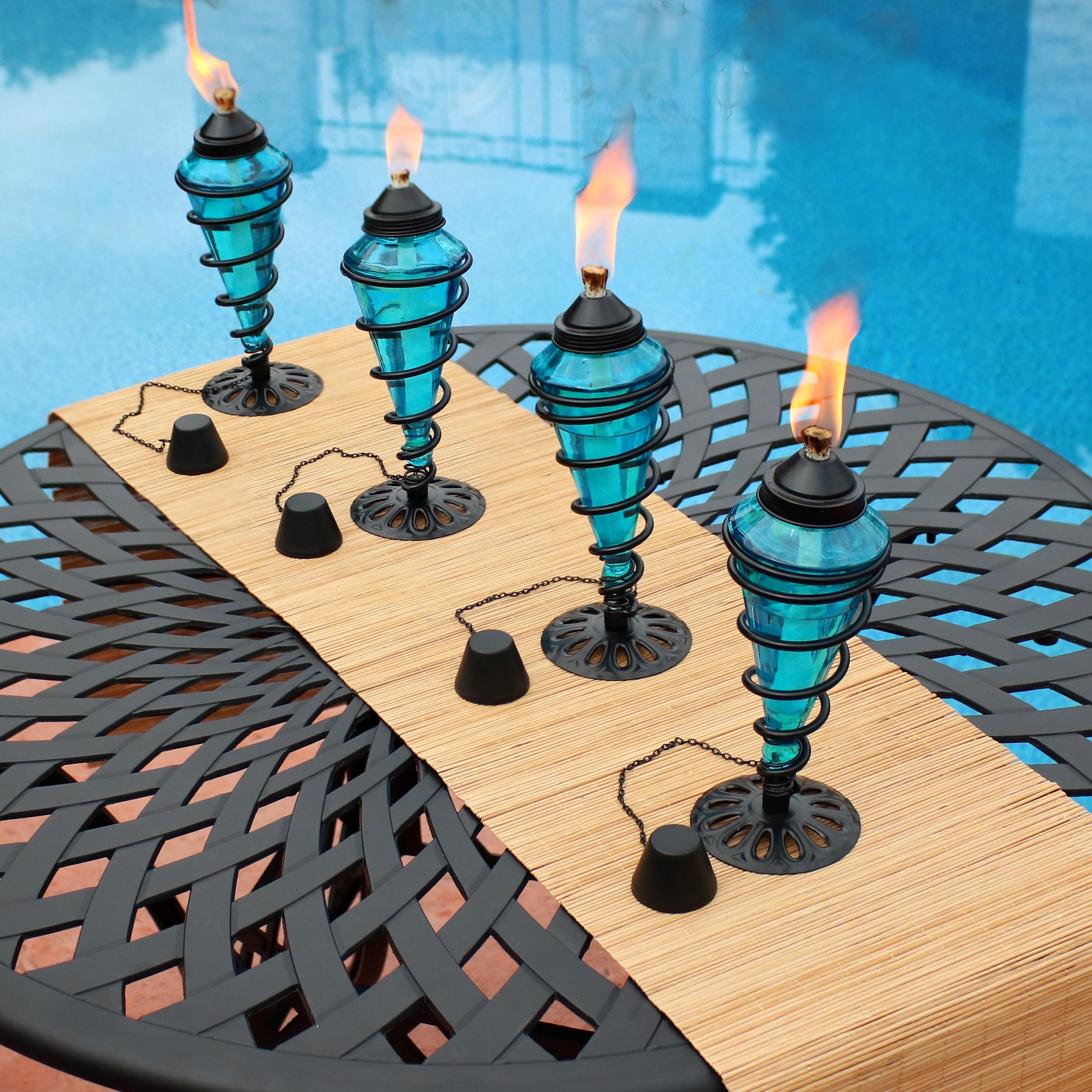 Set of 4 Sunnydaze Blue Glass Outdoor Tabletop Torches Citronella Torch