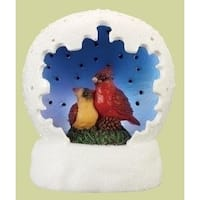 "4"" Vibrantly Colored Battery Operated LED Lighted Cardinal Pair Table Top Christmas Dome - WHITE"