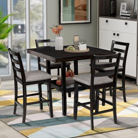 5-Piece Wooden Counter Height Dining Set with Padded Chairs and Storage Shelving Espresso