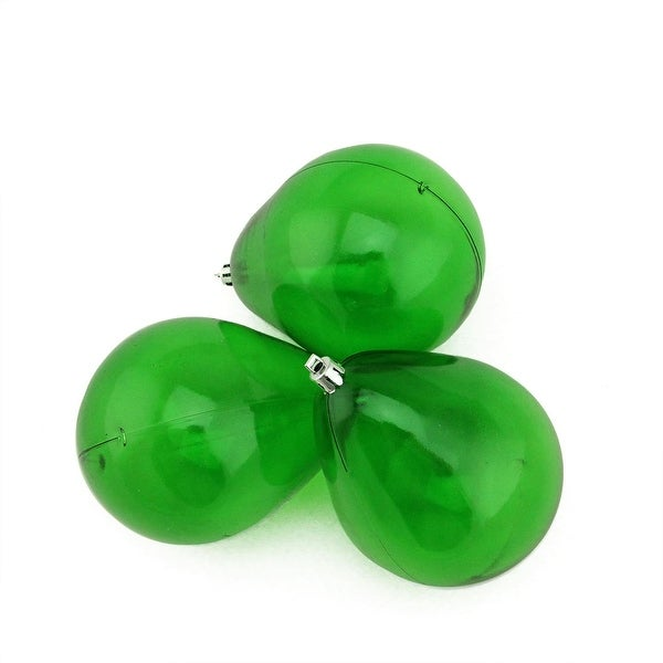 "3ct Xmas Green Transparent Teardrop Shaped Shatterproof Christmas Ornaments 4.75"" (120mm)"