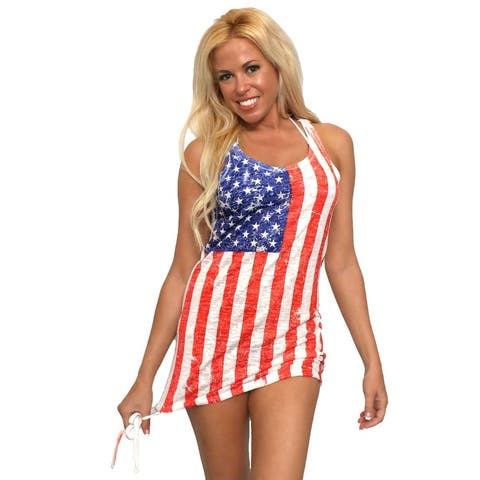 Women's USA Flag Tank Top Dress Stars & Stripes American Pride Beach Cover-Up