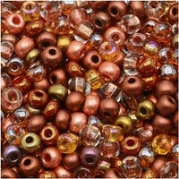 Czech Seed Beads 8/0 Non Cents Mix Copper (1 Ounce)