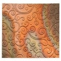 Lillypilly Copper Sheet Metal Whimsy Scroll Embossed Flamed Patina 36 Gauge - 3x3 Inch - Thumbnail 0