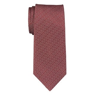YSL Yves Saint Laurent Logo Jacquard Woven Silk Tie Red Necktie Made In France
