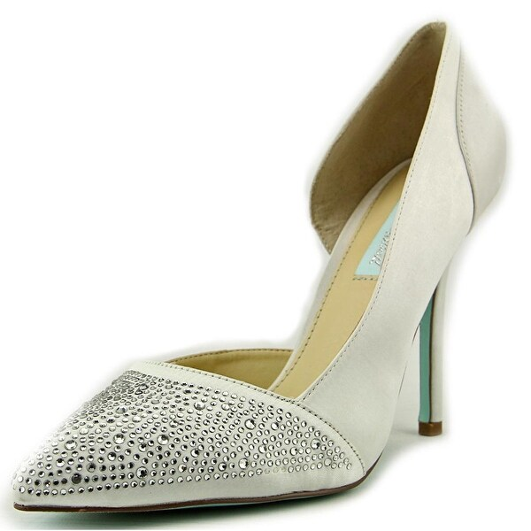 Betsey Johnson Band Pointed Toe Canvas Heels