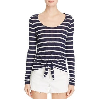Splendid Womens Casual Top Striped Tie Front