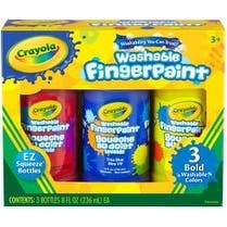 Primary - Crayola Washable Finger Paint 8Oz 3/Pkg