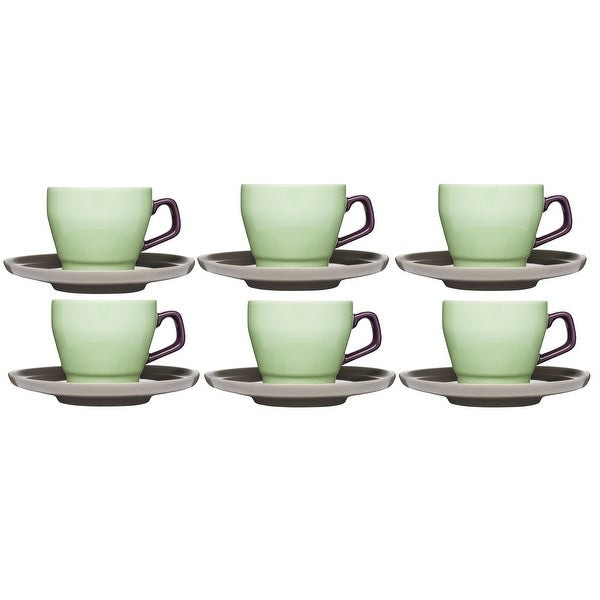 66964e3d7e Shop Sagaform POP Stoneware Coffee Cup and Saucer 8 1/2-Ounce Spring  Green/Purple/Brown Set of 6 - Free Shipping On Orders Over $45 - Overstock  - 18704802