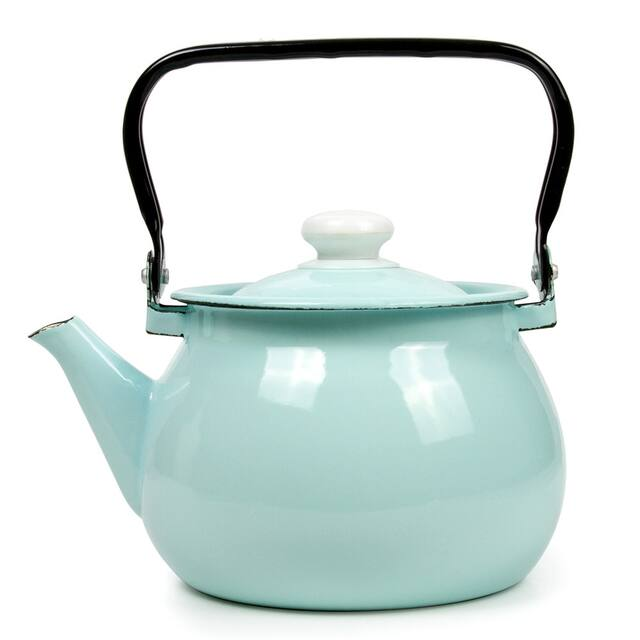 STP-Goods 2.7-Quart Turquoise Enamel on Steel Tea Kettle