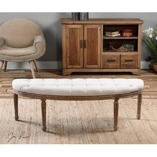 "56"" Off-White Linen Button Tufted Weathered Oak Bench"