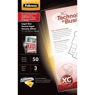 Fellowes Laminating Pouches, Legal, 3 mil Thickness, Pack of 50