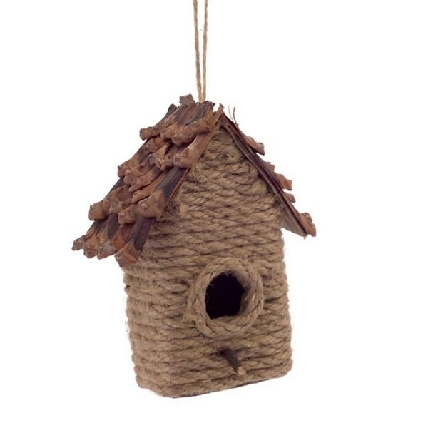 "4.75"" Country Cabin Style Jute and Pine Cone Birdhouse Christmas Ornament - brown"