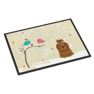 Carolines Treasures BB2558MAT Christmas Presents Between Friends Shih Tzu Chocolate Indoor or Outdoor Mat 18 x 0.25 x 27 in.