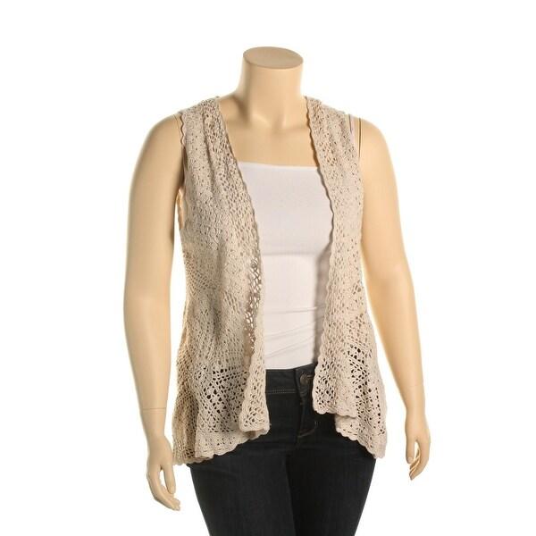Shop Joseph A Womens Cardigan Sweater Crochet Sleeveless Xl Free