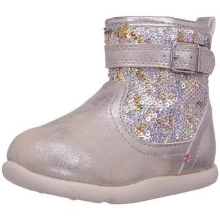 Step & Stride Girls Ciara-P Ankle Zipper Snow Boots - 6 m us girls