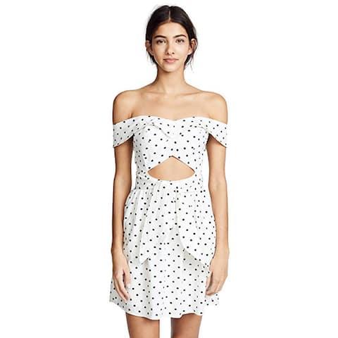 WAYF Women's Capri Knotted Cutout Mini Dress, Ivory Polka Dot, Off White, Large