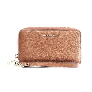 Michael Kors NEW Brown Acorn Pebble Leather Mercer Wristlet Wallet