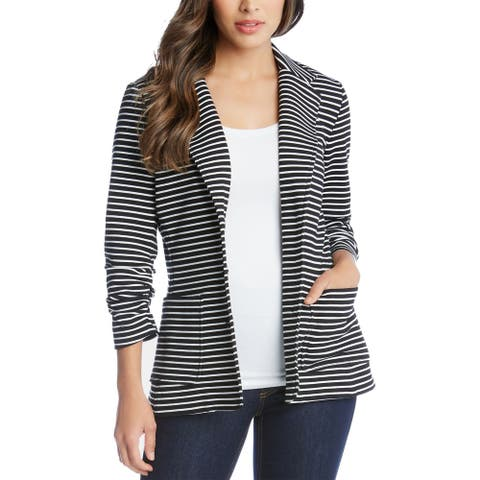 Karen Kane Women Blazer Jacket White Black Medium M Striped Ruched-Cuff