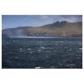 """Windblown mist in stormy seas"" Poster Print"