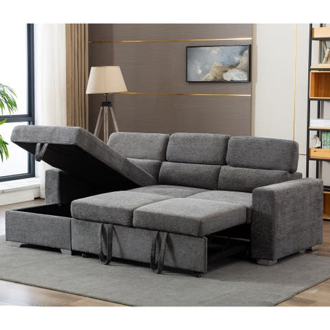 Modern Mid-Century Pullout Storage Sectional Sleeper Sofa