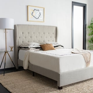Safavieh Blanchett Light Grey Linen Upholstered Tufted Wingback Bed (Queen)