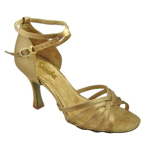 Sansha Adult Gold Satin Upper Heeled Regina Ballroom Shoes Womens