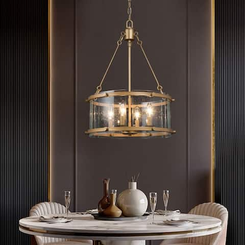 Modern Gold 4-light Chandelier Seeded Glass Drum Fixture for Dining, Living Room - D16.9'' x H82''