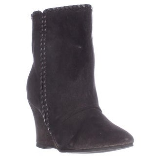 Charles by Charles David Naya Pull On Wedge Mid Calf Boots - Black Suede