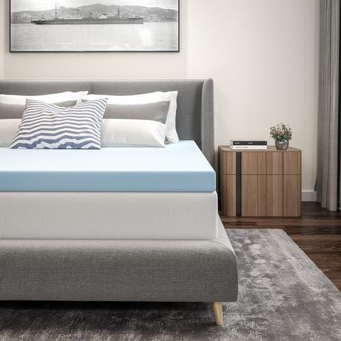 Cool Gel Infused Hypoallergenic Cooling Memory Foam Mattress Topper - Blue