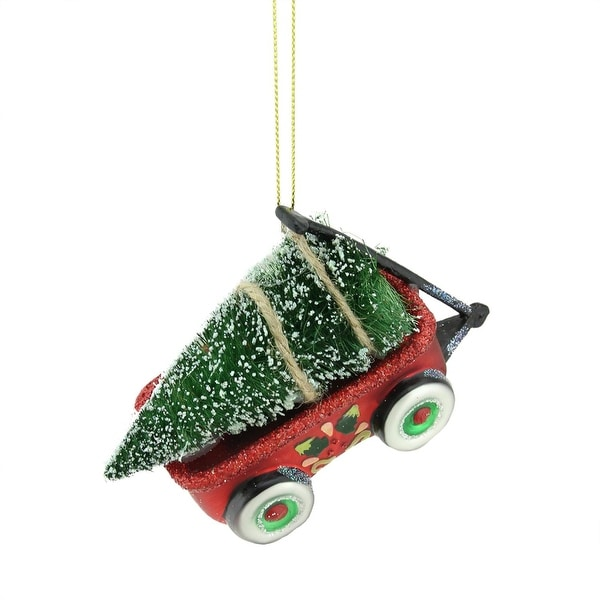 """4.5"""" Red, Green and Black Glittered Glass Wagon with Tree Christmas Ornament"""