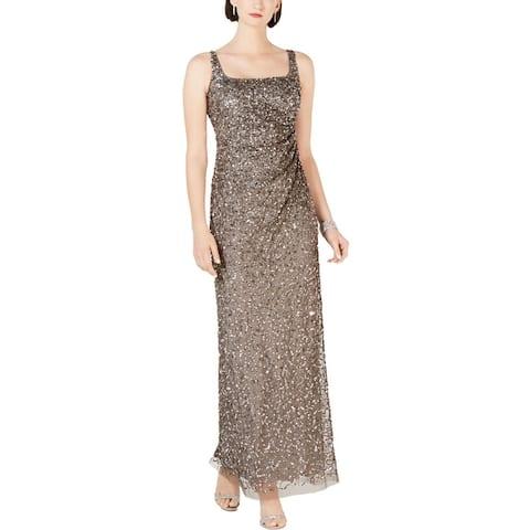 Adrianna Papell Womens Evening Dress Mesh Sequined