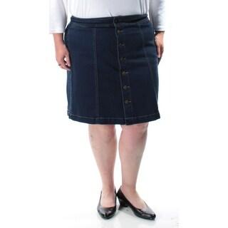CHARTER CLUB $45 Womens New 1124 Blue Button Up A-Line Skirt 16 B+B