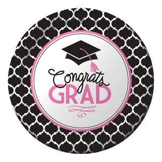 "Club Pack of 180 Glamorous Grad Disposable Paper Graduation Party Dessert Plates 7"" - Pink"