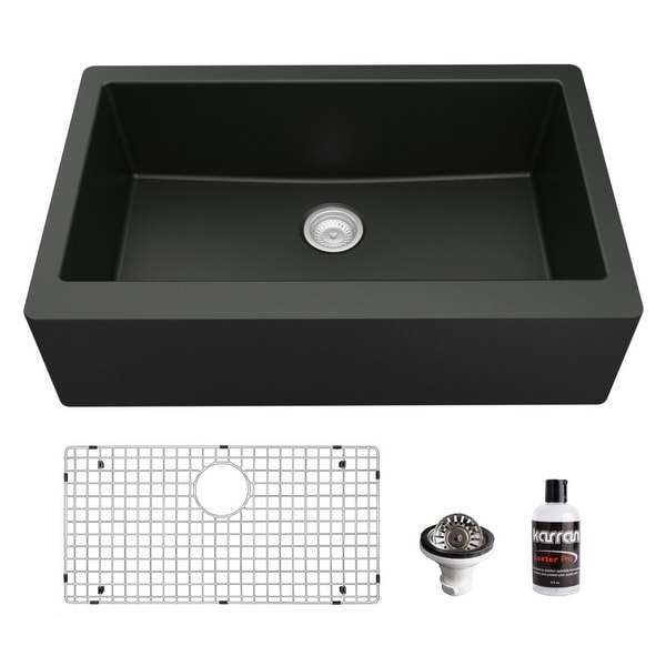Karran Farmhouse/Apron-Front Quartz Single Bowl Kitchen Sink Kit. Opens flyout.