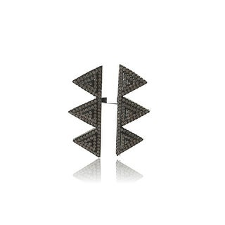925 Sterling Silver Double column Triangle Ring with Cubic Zirconia
