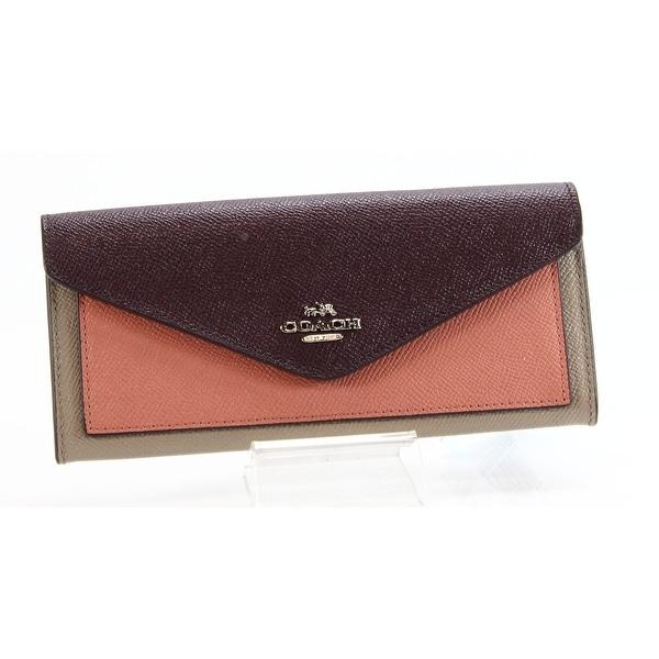 Coach NEW Silver Stone Melon Colorblock Soft Wallet Envelope Leather