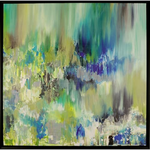 Summer Pond II 42-inch x 42-inch Framed Oil Wall Art Abstract Decor Blue Green for Home Office Large XL