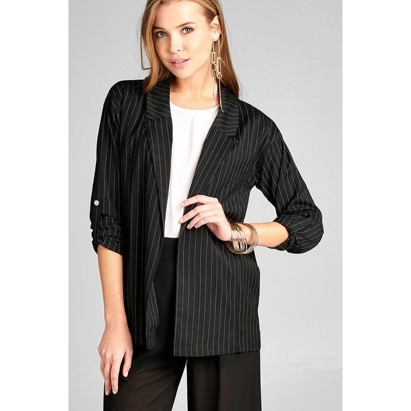 8dfe78f7a Shop Ladies Fashion 3/4 Roll Up Sleeve W/Snap Button Open Front W/Collar  Print Stripe Blazer - Size - S - Free Shipping Today - Overstock - 23160437