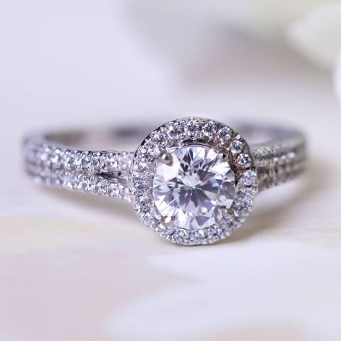 Auriya 14k Gold 1 1/2ctw Halo Moissanite Engagement Ring