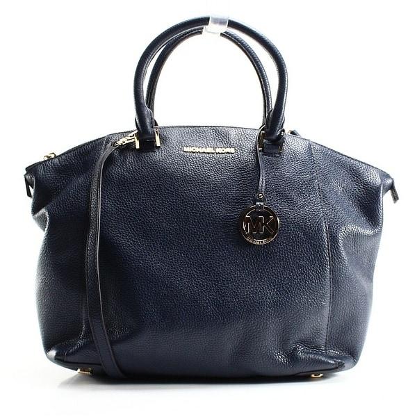 9fde6169e1e3 Shop Michael Kors NEW Navy Blue Pebbled Leather Large Riley Satchel ...